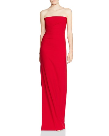 $HALSTON HERITAGE Strapless Ruched-Side Column Gown - Bloomingdale's