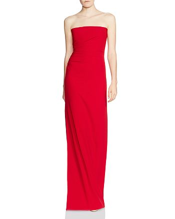 58f7554d8c6 HALSTON HERITAGE - Strapless Ruched-Side Column Gown