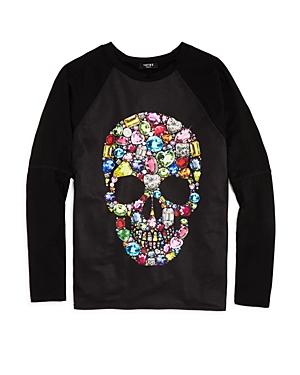 Terez Girls' Jewel-Print Skull Tee with Back Vent - Big Kid