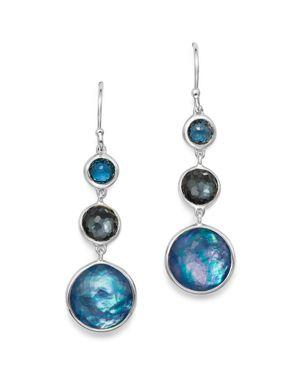 Sterling Silver Lollipop Lapis Triplet, London Blue Topaz & Hematite Drop Earrings In Eclipse, Multi/Silver