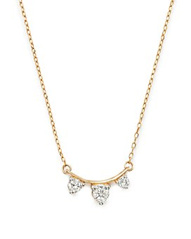 Adina Reyter - 14K Yellow Gold Amigos Diamond Curve Necklace, 15""