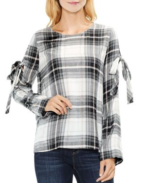 Vince Camuto Tie Sleeve Plaid Blouse