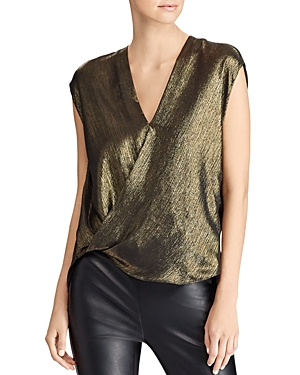 Lauren Ralph Lauren Metallic Faux-Wrap Blouse