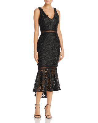 AVERY G Lace Flounce-Hem Dress in Black