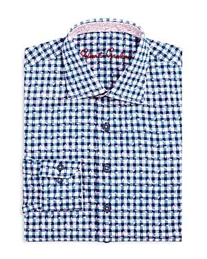Robert Graham Boys Check  Leaves Dress Shirt  Big Kid