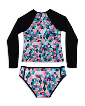 Gossip Girl - Girls' Kaleidoscope Rash Guard & Swimsuit Bottoms Set - Big Kid