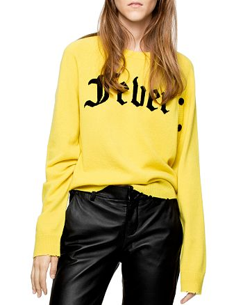 """Zadig & Voltaire - Justy """"Fever"""" Graphic Distressed Cashmere Sweater"""