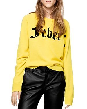 Zadig & Voltaire Justy Fever Graphic Distressed Cashmere Sweater
