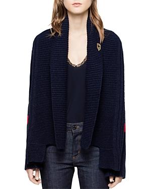 Zadig & Voltaire Mystic Shawl-Collar Stripe-Sleeve Cardigan