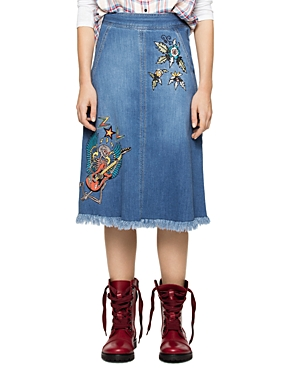 Zadig & Voltaire Jamille Deluxe Embroidered Fringed-Hem Denim Skirt