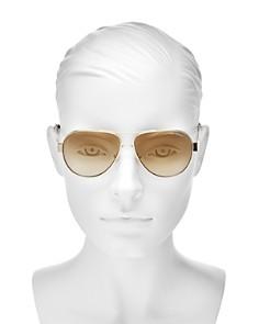 Tory Burch - Women's Mirrored Brow Bar Aviator Sunglasses, 55mm