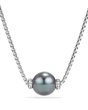 David Yurman Solari Pendant Necklace with Diamonds & Cultured Tahitian Gray Pearl