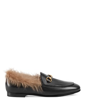 07b55be552b ... Gucci - Women s Jordaan Leather   Lamb Fur Loafers