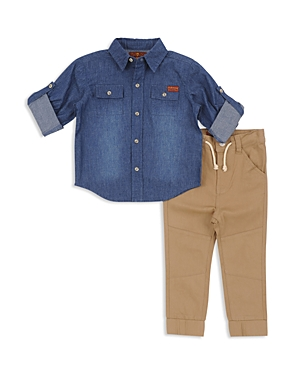 7 For All Mankind Boys Chambray Shirt  Jogger Pants Set  Little Kid