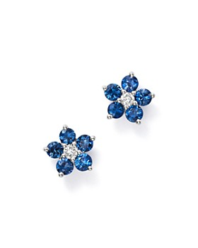Bloomingdale's - Blue Blue Sapphire & Diamond Flower Stud Earrings in 14K White Gold - 100% Exclusive
