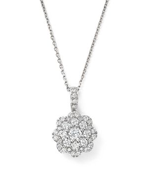 Bloomingdale's Diamond Cluster Floral Pendant Necklace in 14K White Gold, 0.55 ct. t.w. - 100% Exclu