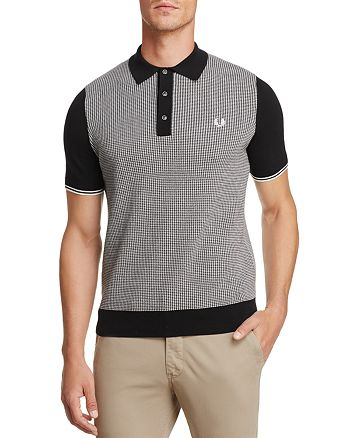 09cecabdd9a29 Fred Perry Houndstooth Knit Short Sleeve Polo Shirt   Bloomingdale s