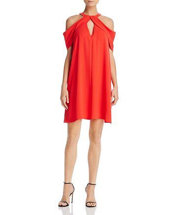 BCBGMAXAZRIA - Draped Cold-Shoulder Dress