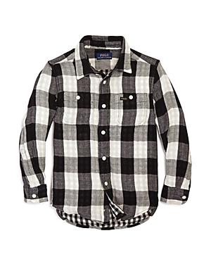 Ralph Lauren Childrenswear Boys' Herringbone-Plaid Workshirt - Big Kid