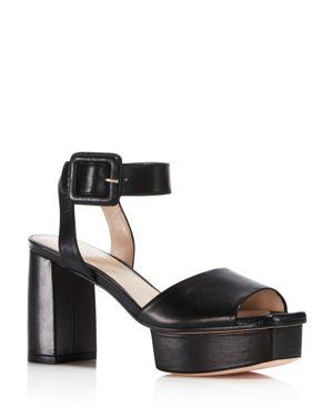 Stuart Weitzman Women's Newdeal Leather Platform Ankle Strap Sandals