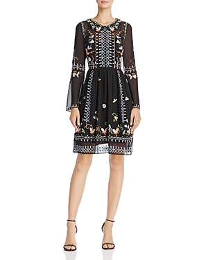 French Connection Bijou Stitch Embroidered Bell-Sleeve Dress