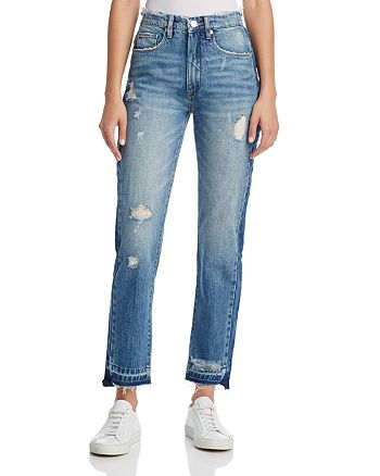 BLANKNYC - Contrast Panel Straight-Leg Jeans in Hot Thoughts Blue