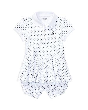 Ralph Lauren Childrenswear Girls Dotted Peplum Polo Romper  Baby