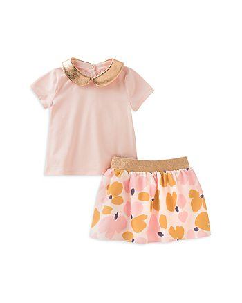kate spade new york - Girls' Metallic Collar Top & Coreen Floral Skirt Set - Baby