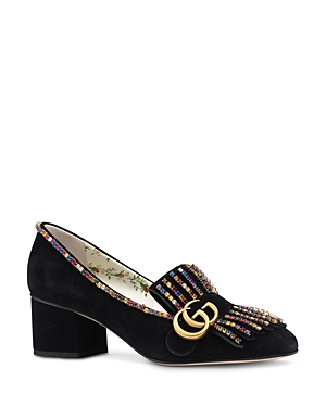 Gucci Women's Marmont Embellished Suede 55mm Loafers