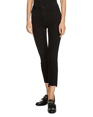 Maje Parlo Fringed Step-Hem Cropped Skinny Jeans