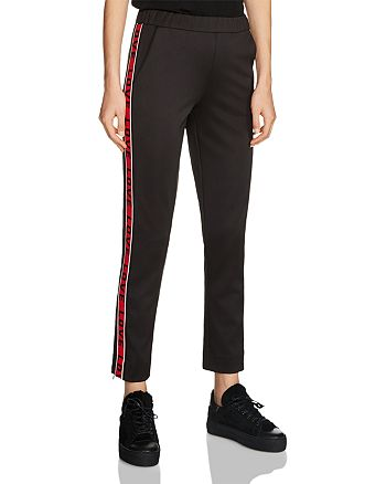 "Maje - Poly Striped ""Love"" Graphic Track Pants"
