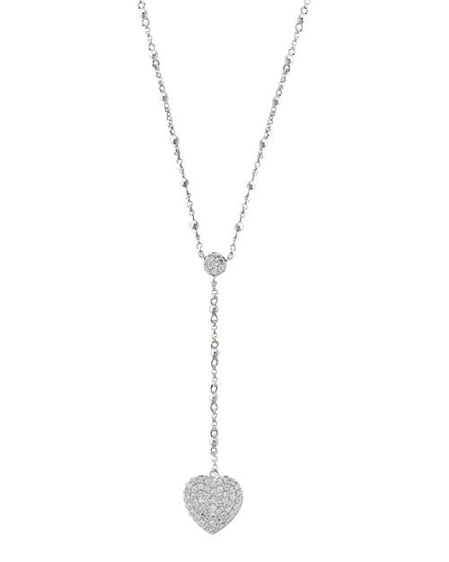 Bloomingdale's - Diamond Heart Y Necklace in 14K White Gold, 0.25 ct. t.w. - 100% Exclusive