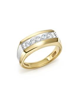 Bloomingdale's - Men's Diamond 5 Stone Men's Ring in 14K Yellow & White Gold, 0.50 ct. t.w.