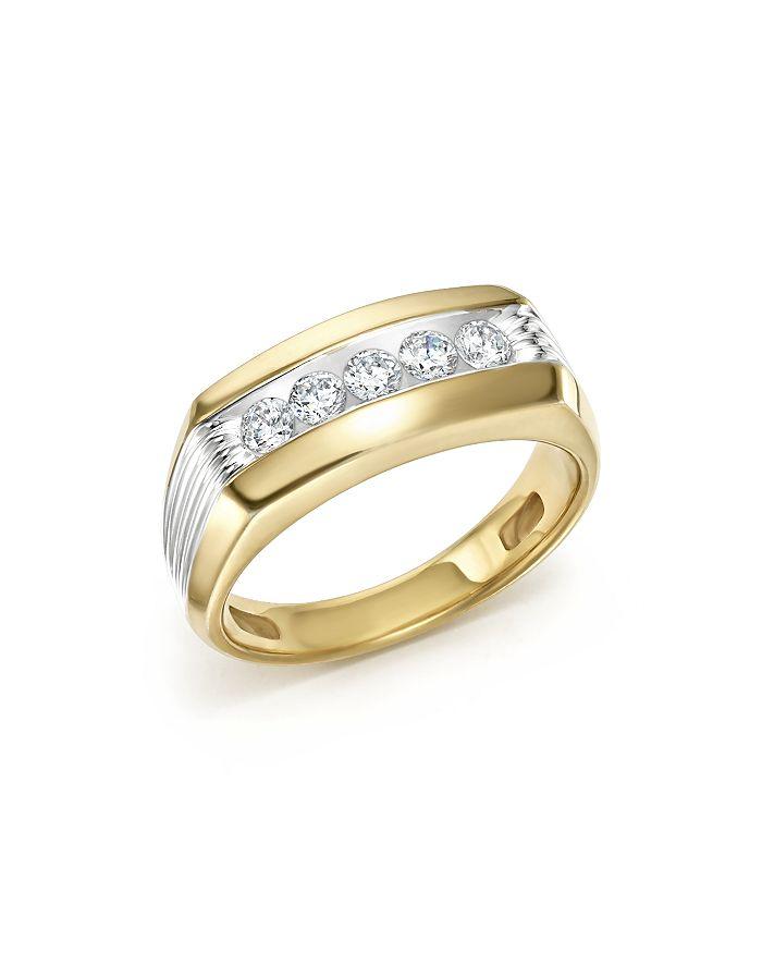 Bloomingdale's Men's Diamond 5 Stone Men's Ring In 14K Yellow & White Gold, 0.50 Ct. T.W. In White/Gold