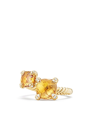 David Yurman Chatelaine Bypass Ring with Citrine & Diamonds in 18K Gold