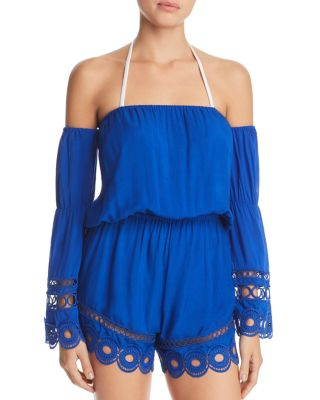 Markos Off-The-Shoulder Romper With Embroidery & Fringe, Azure
