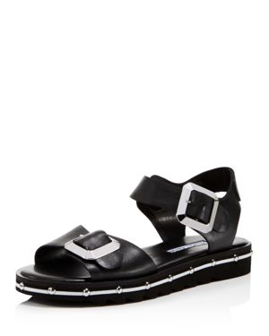 Women'S Spy Leather Ankle Strap Sandals, Black Leather