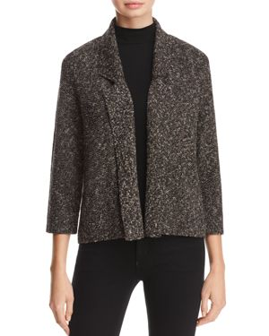 Eileen Fisher Notched-Collar Sweater Jacket