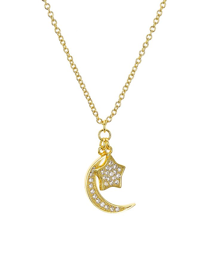 """AQUA - Sterling Silver Star & Moon Pendant Necklace, 16"""" - 100% Exclusive"""