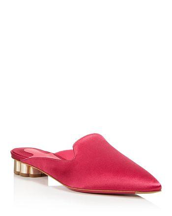Salvatore Ferragamo - Women's Satin Pointed Toe  Floral Heel Mules