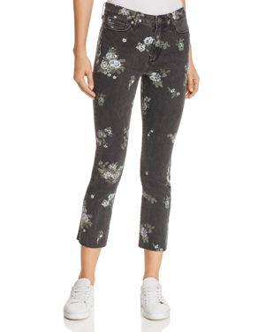 Jacqueline Straight Raw-Hem Jeans in Vintage Floral 2767736