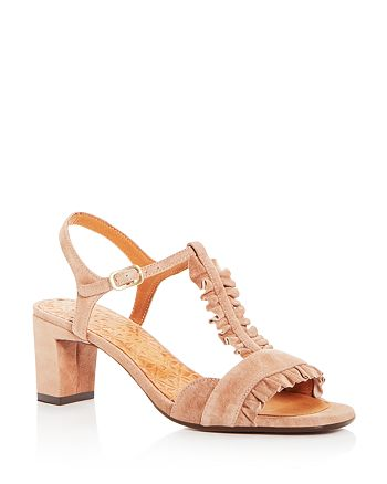 Chie Mihara - Women's Laubo Suede Ruffle T-Strap Mid Heel Sandals