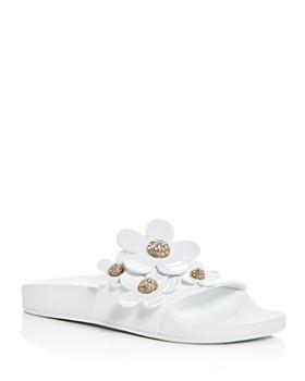 MARC JACOBS - Women's Daisy Embellished Pool Slide Sandals