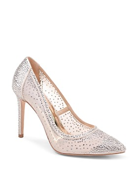 Badgley Mischka - Women's Weslee Embellished Satin & Mesh Pointed Toe Pumps