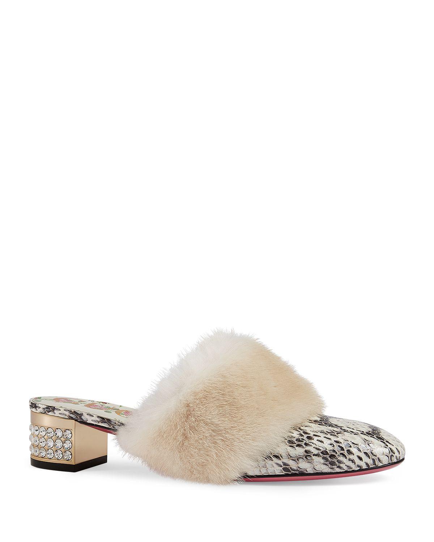 Gucci Women's Candy Genuine Mink Fur Mule