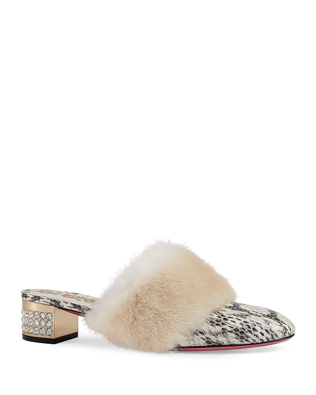 Gucci Women's Candy Genuine Mink Fur Mule GBM1blkb7g