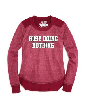 So Nikki. Girls' Busy Doing Nothing Tee with Waffle-Knit Details - Big Kid