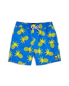TOM & TEDDY - Boys' Pineapple Print Swim Trunks - Big Kid