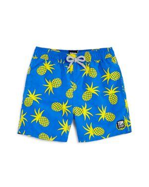 Tom & Teddy Boys' Pineapple Print Swim Trunks - Big Kid
