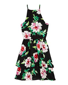 AQUA Girls' Floral Tiered Dress, Big Kid - 100% Exclusive - Bloomingdale's_0